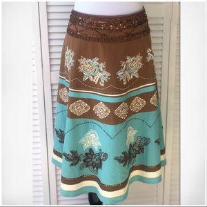 Vintage Teal&Brown Embellished Circle Skirt Sz 12